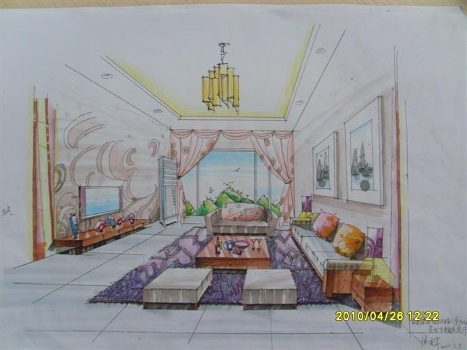 客厅手绘效果图