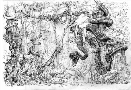 素描蛇的步骤图
