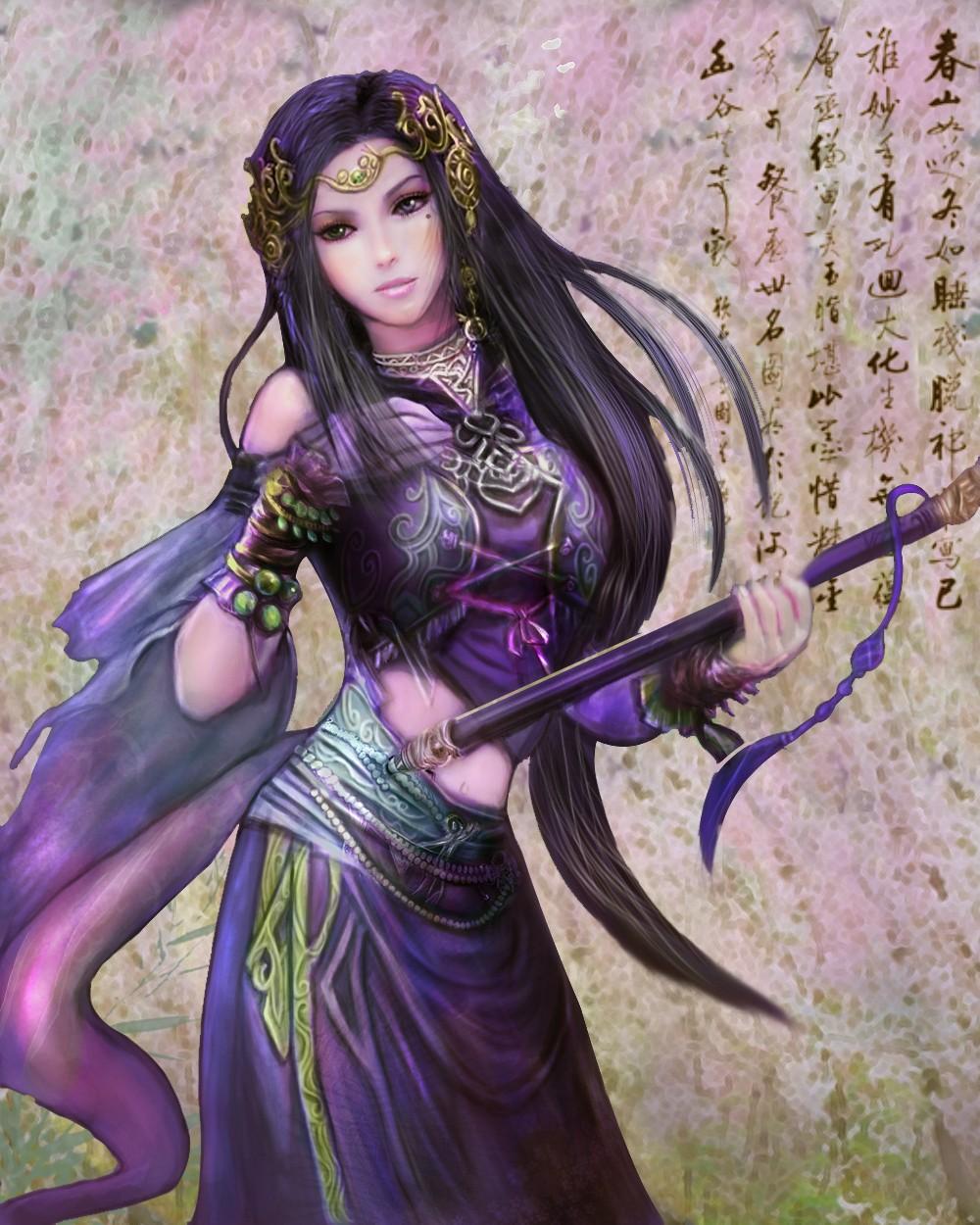 手绘古装紫衣女子蒙面