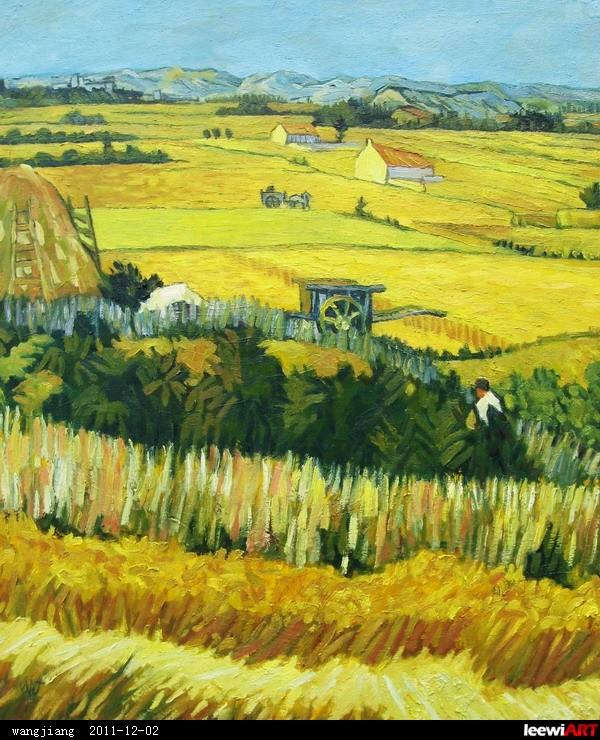 临摹梵高油画《麦田》
