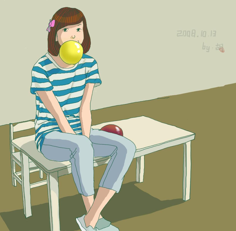 吹气球的女孩