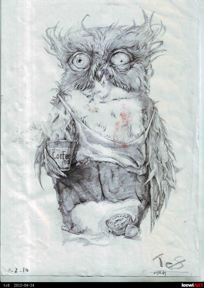 通宵的猫头鹰 临摹图片