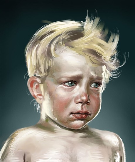 可爱娃娃哭泣图片