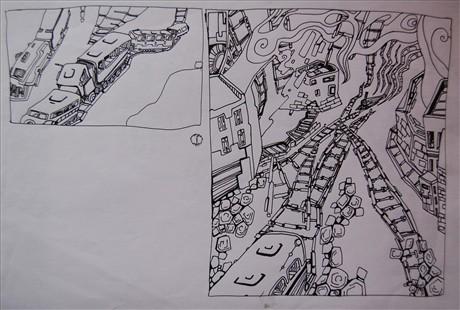 火车素描画步骤图片