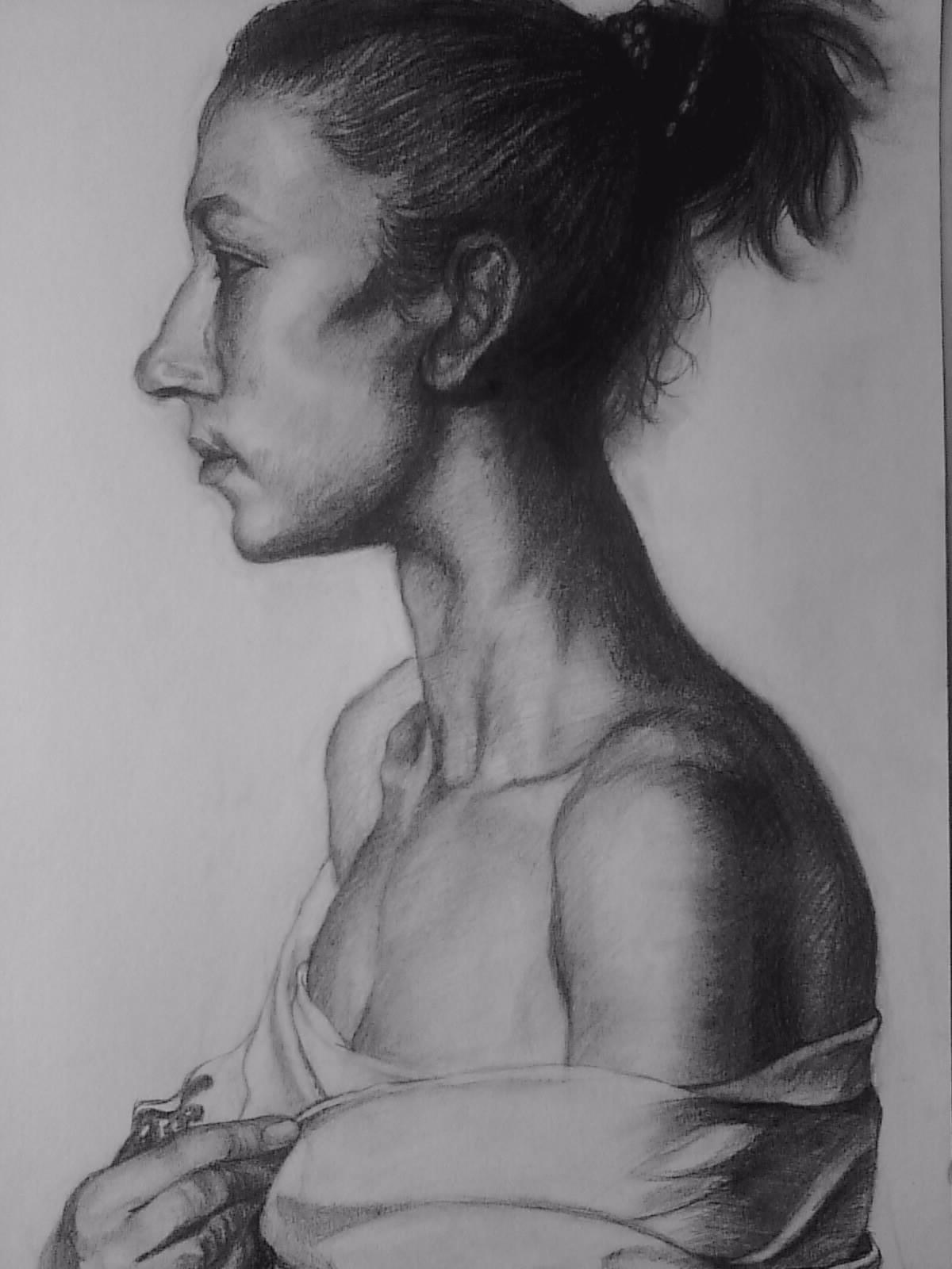 人物侧面铅笔画
