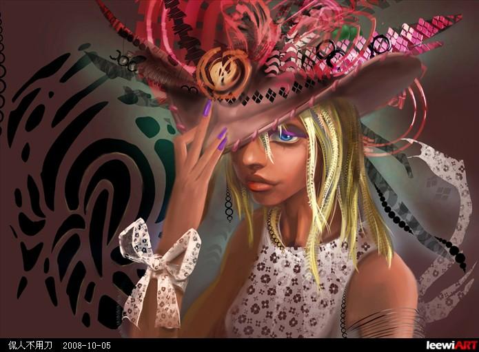 草帽绘画创意花纹图片