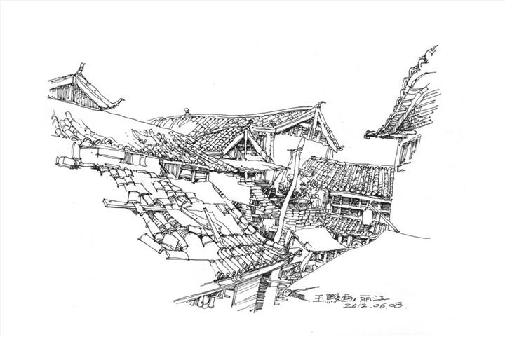 云南丽江手绘线稿