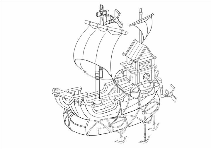 小船简笔画素材