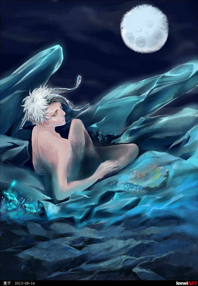 冷色调人物画的尝试.冰柱,龟裂岩石地面与蓝色水晶小花