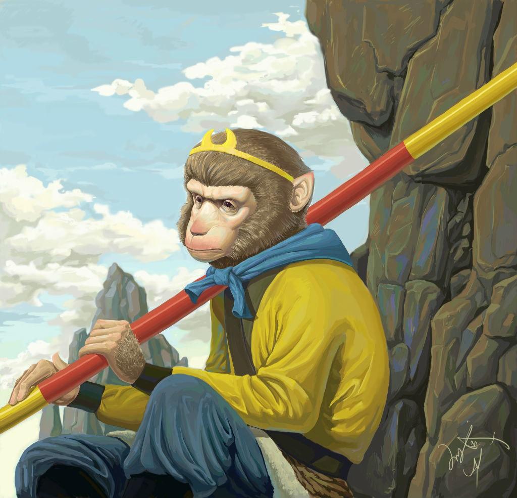 猴哥简笔画大全带颜色