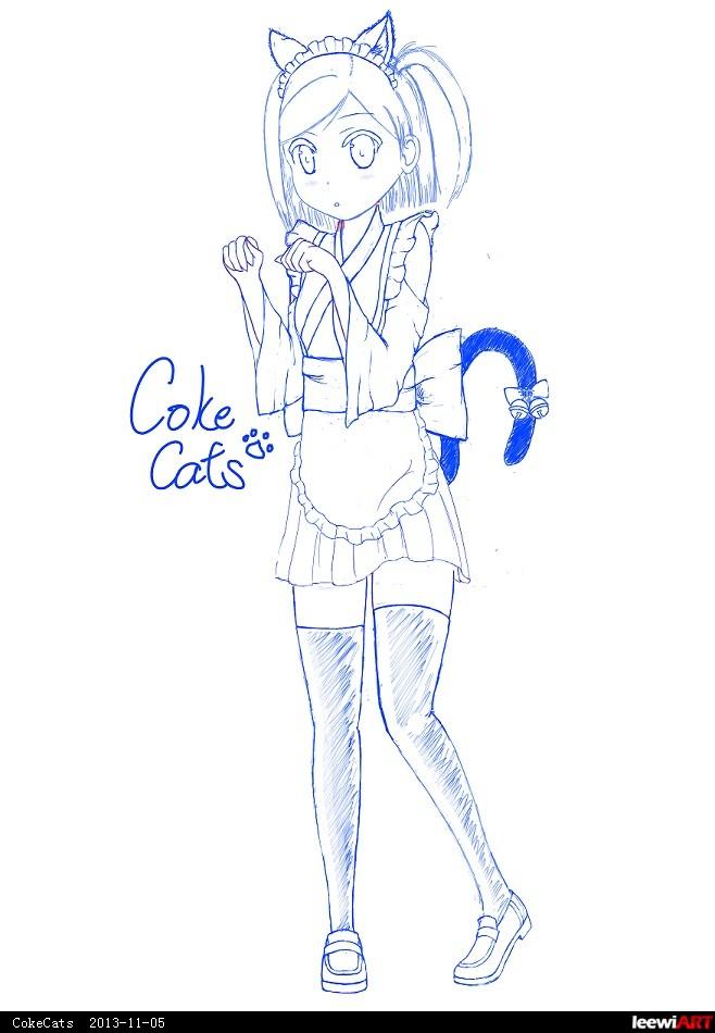 可爱小猫筒笔画