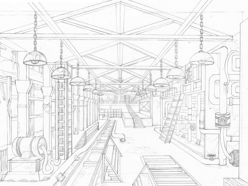 手绘工厂设计图