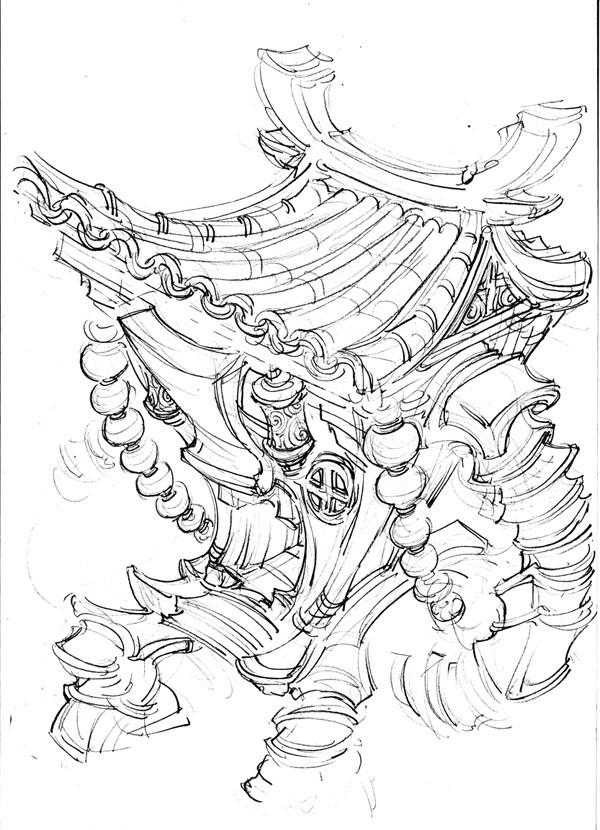 手绘寺庙设计图