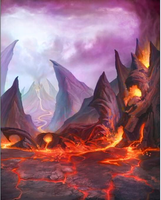 游戏火山场景素材