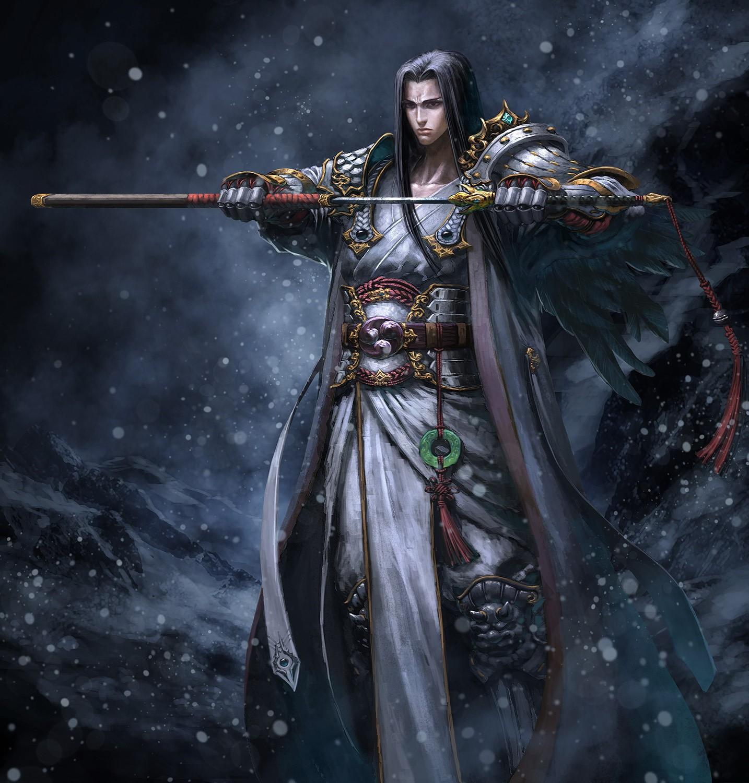 剑客远去背影水墨画-古代剑客和高手狭路相逢,假定这个对手是天下