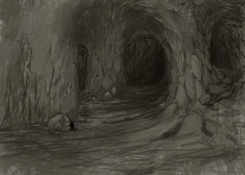 山洞简笔画示意图