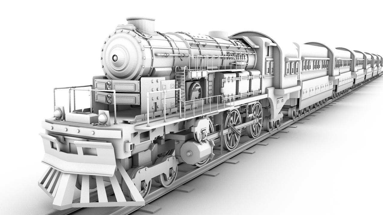 素描火车的步骤