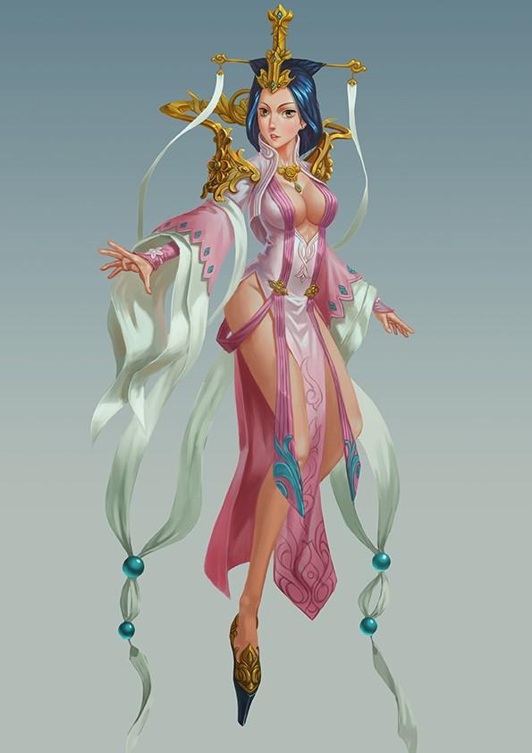 古风手绘女帝背景图