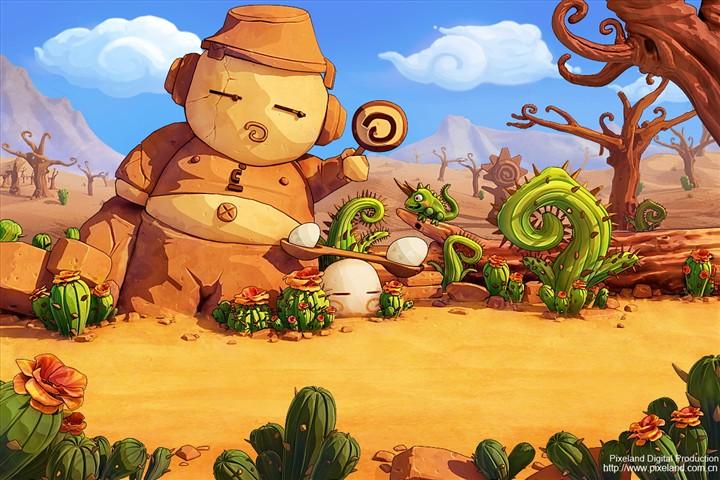 动漫沙漠风景图