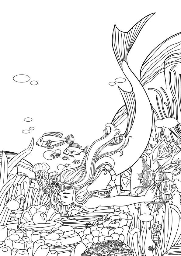 人鱼简笔画手绘