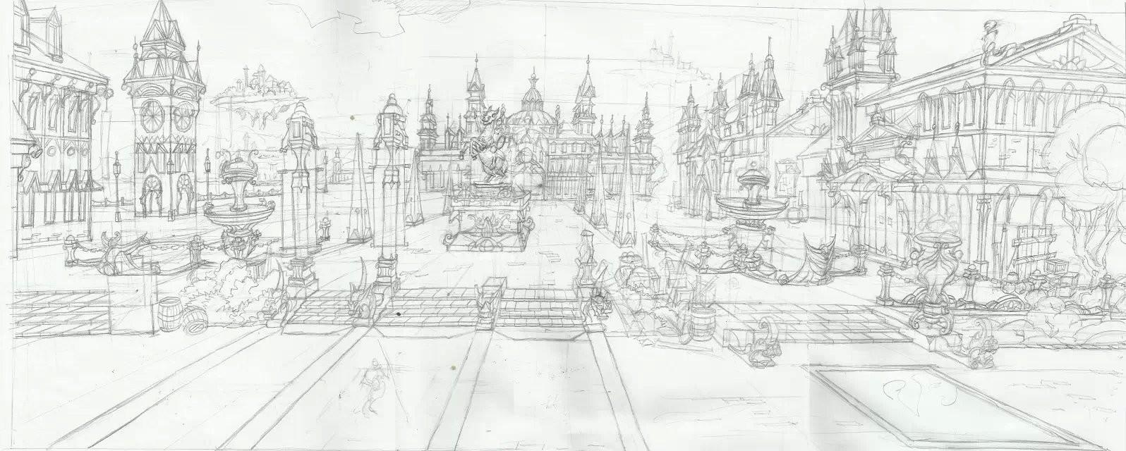 广场局部效果图手绘线稿