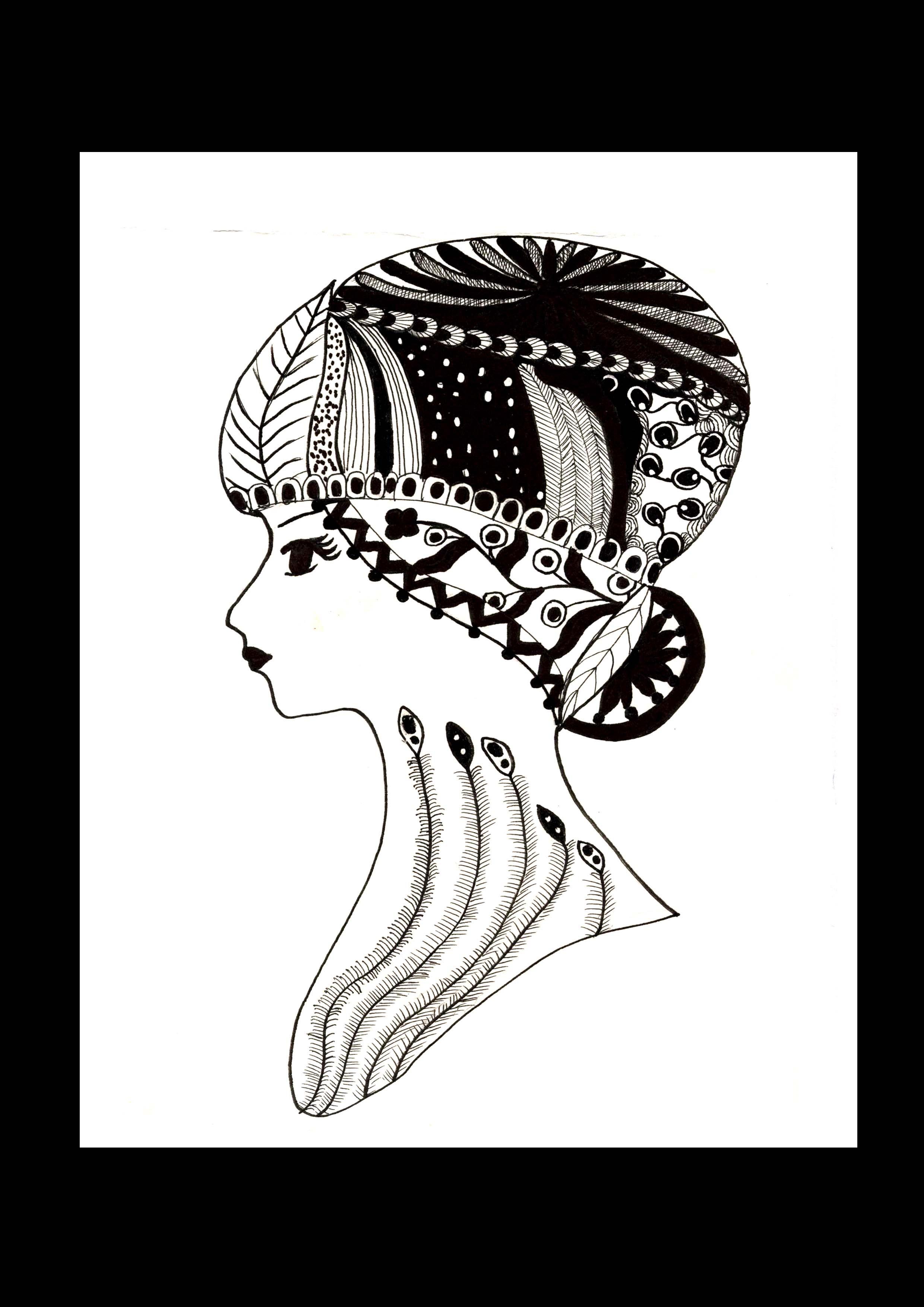 人物黑白装饰性插画