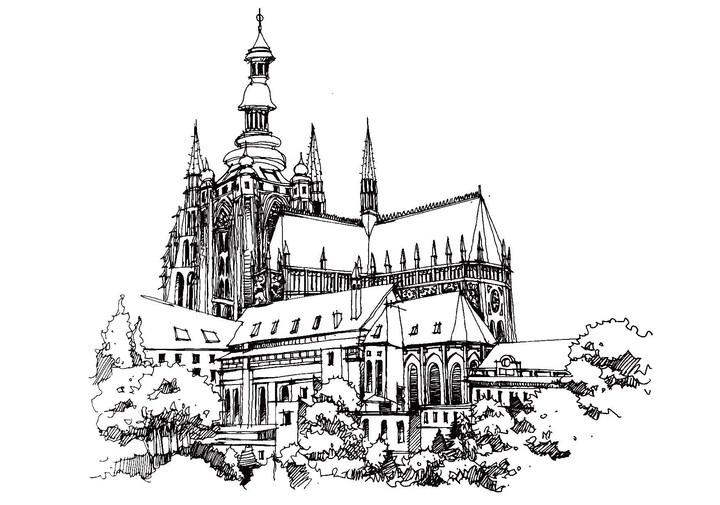 巴塞罗那教堂手绘线稿