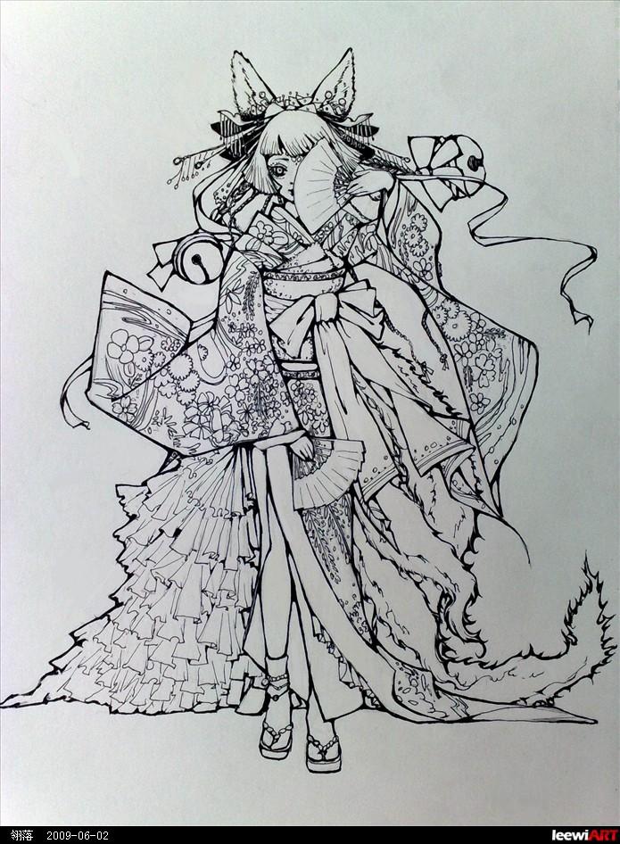和服简笔画