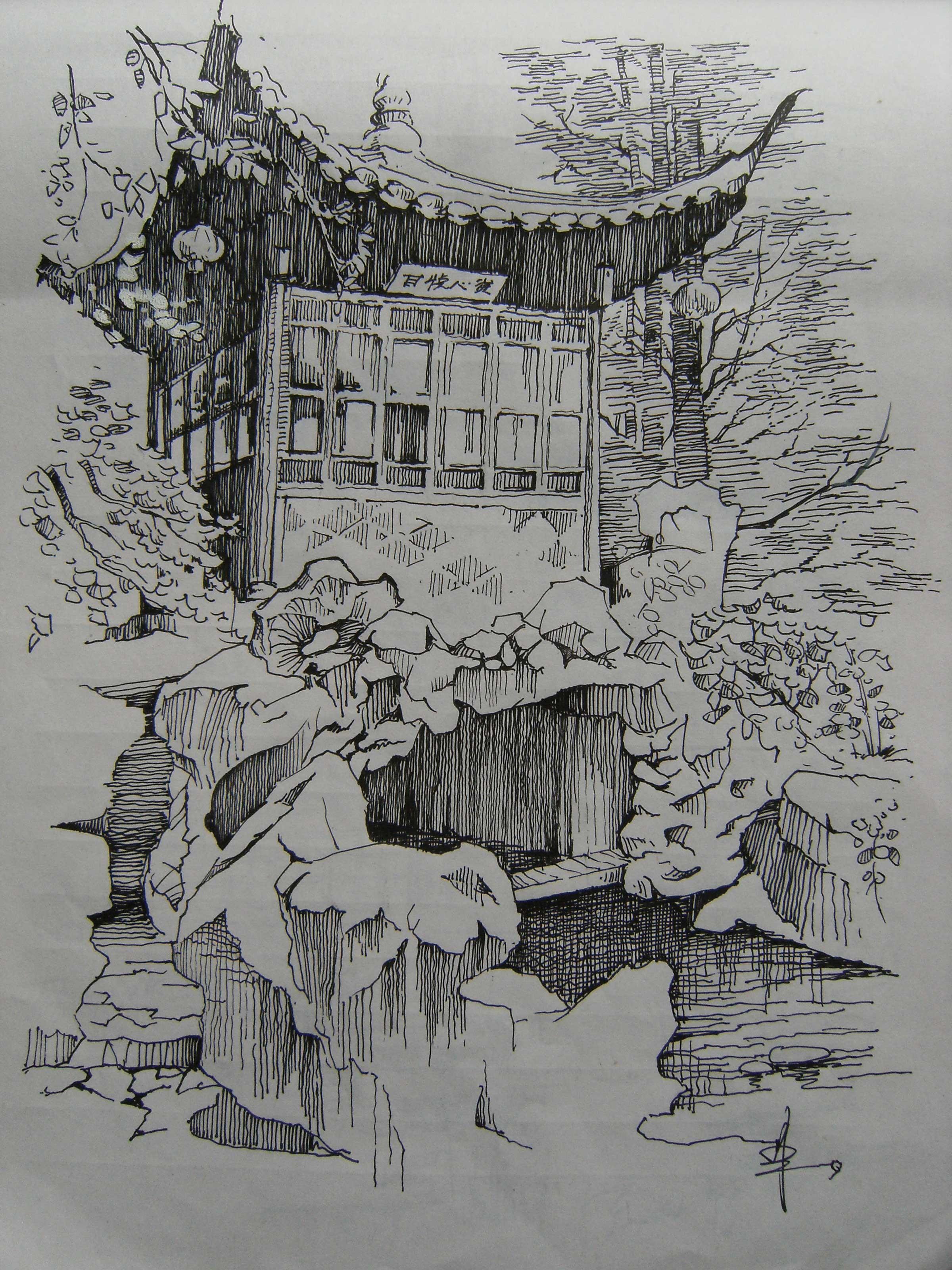 庐山手绘建筑钢笔画_风景520
