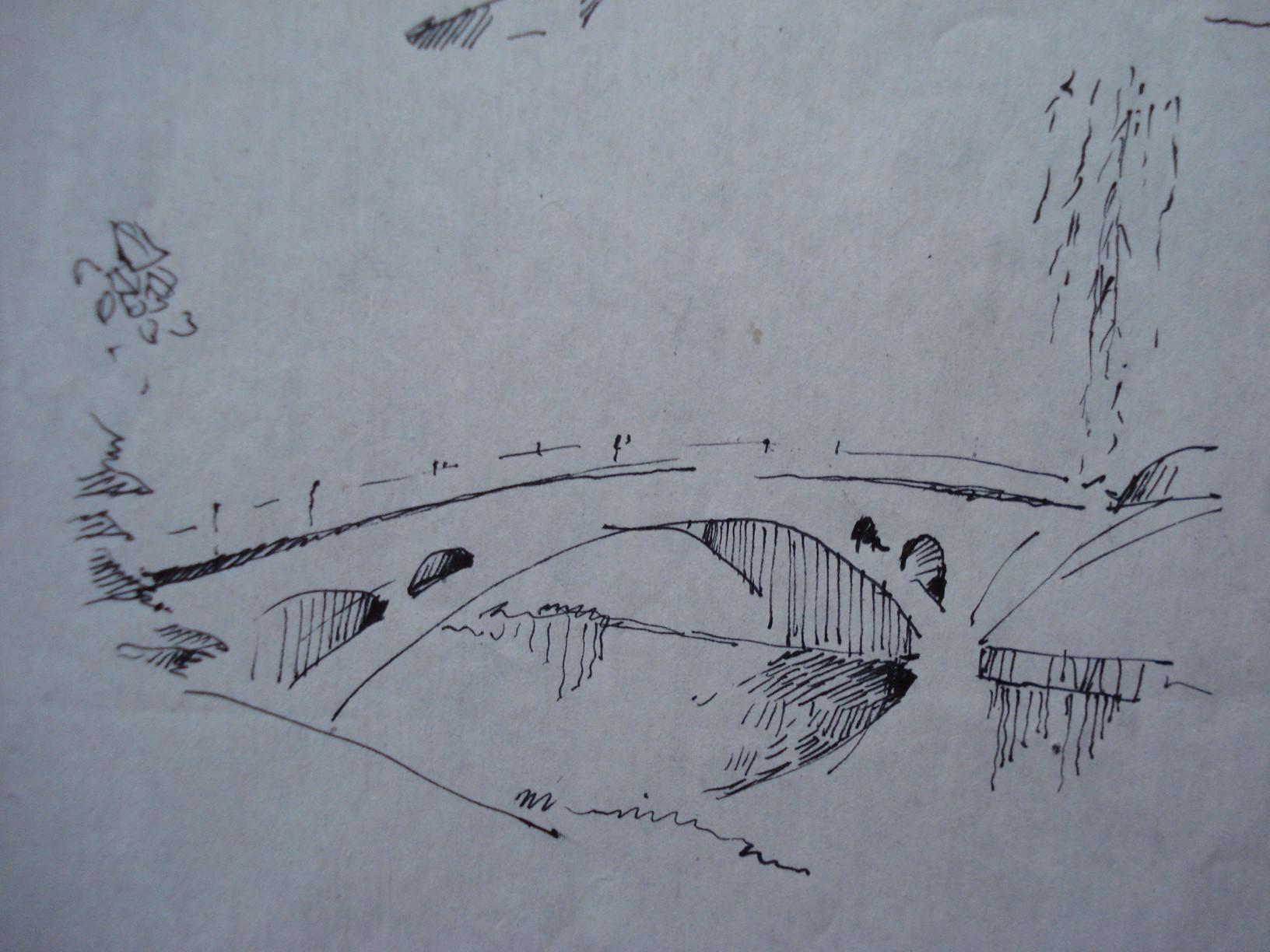 简单风景速写钢笔画 上海建筑速写钢笔画 树木风景速写钢笔画