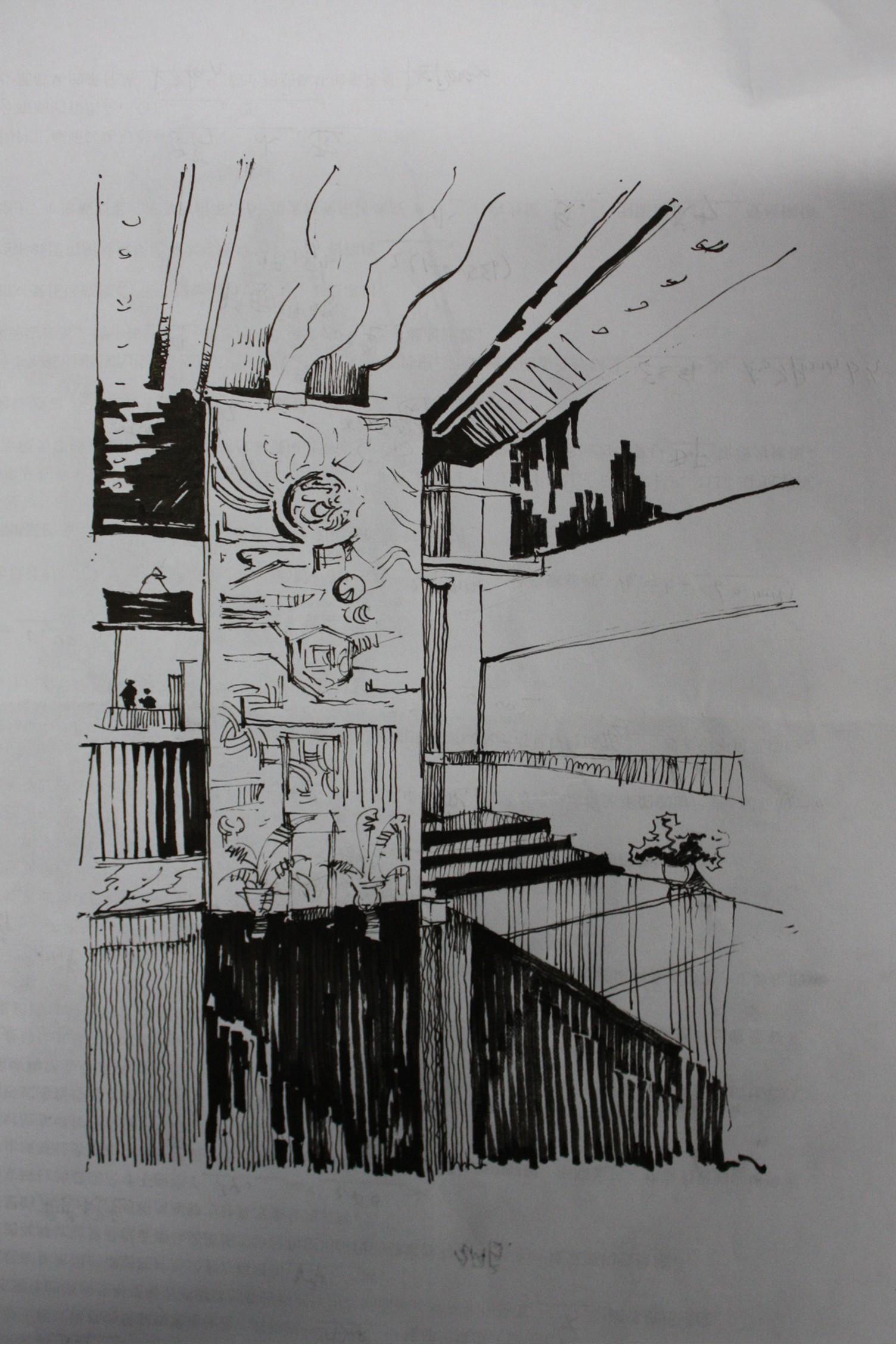 园林房子钢笔画分享展示