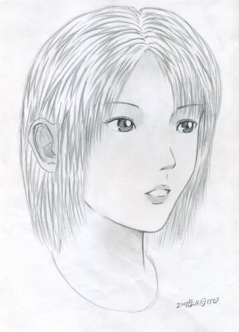 动漫女生手绘教程少女铅笔画