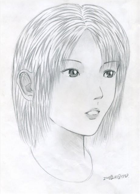可爱小女孩铅笔画