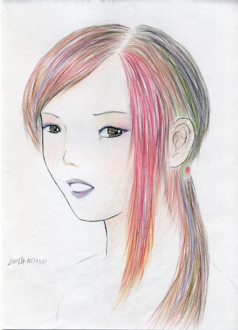 梦中女孩彩铅上色2