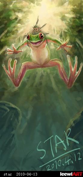 小型精灵.他们与大自然和睦相处~!每天起着小树蛙穿梭在丛林高清图片