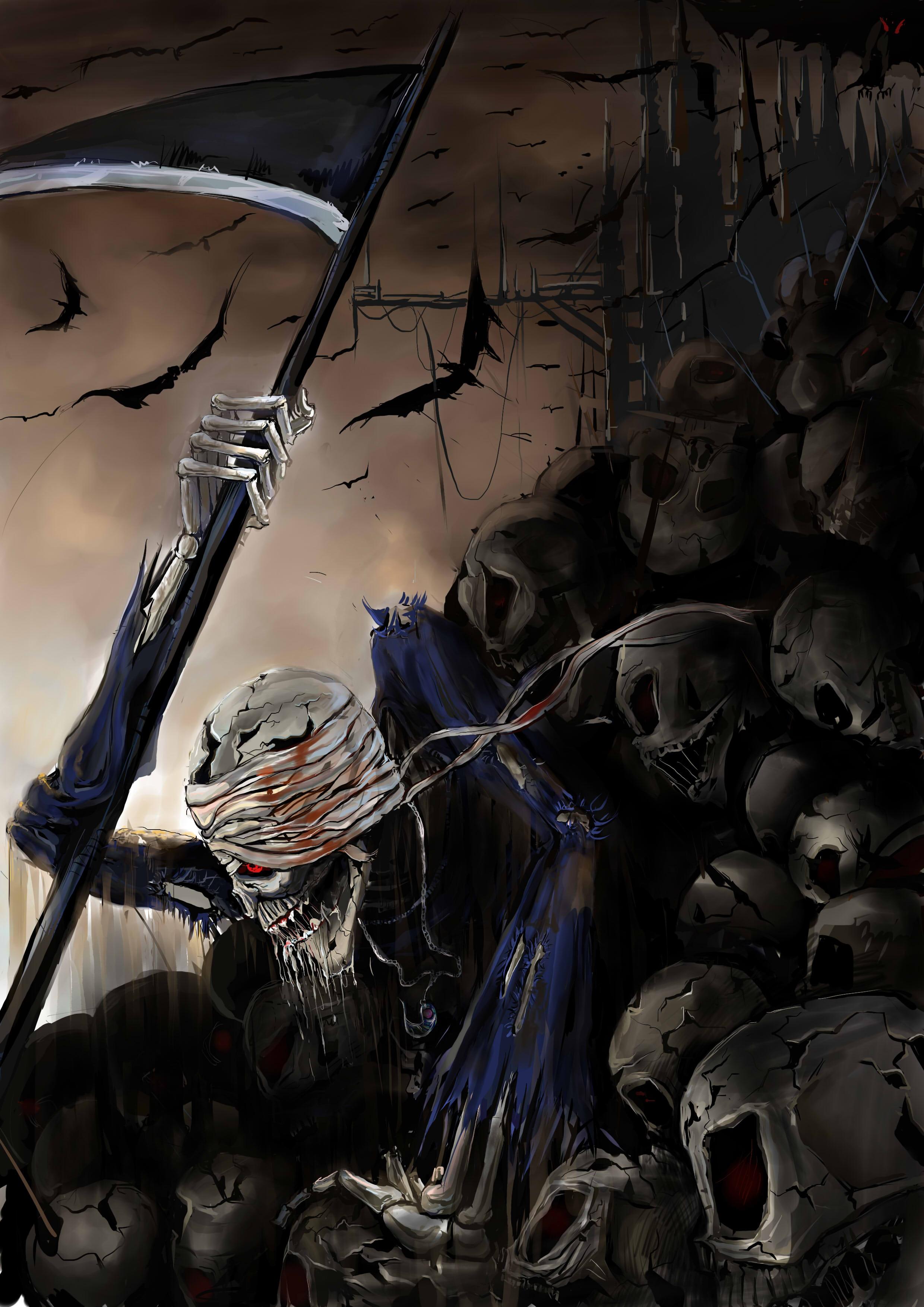 骷髅镰刀死神素材