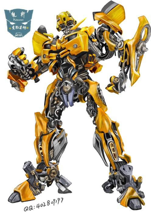 变形金刚3d墙画记_飞呈手绘壁画   变形金刚大黄蜂 - 溢彩
