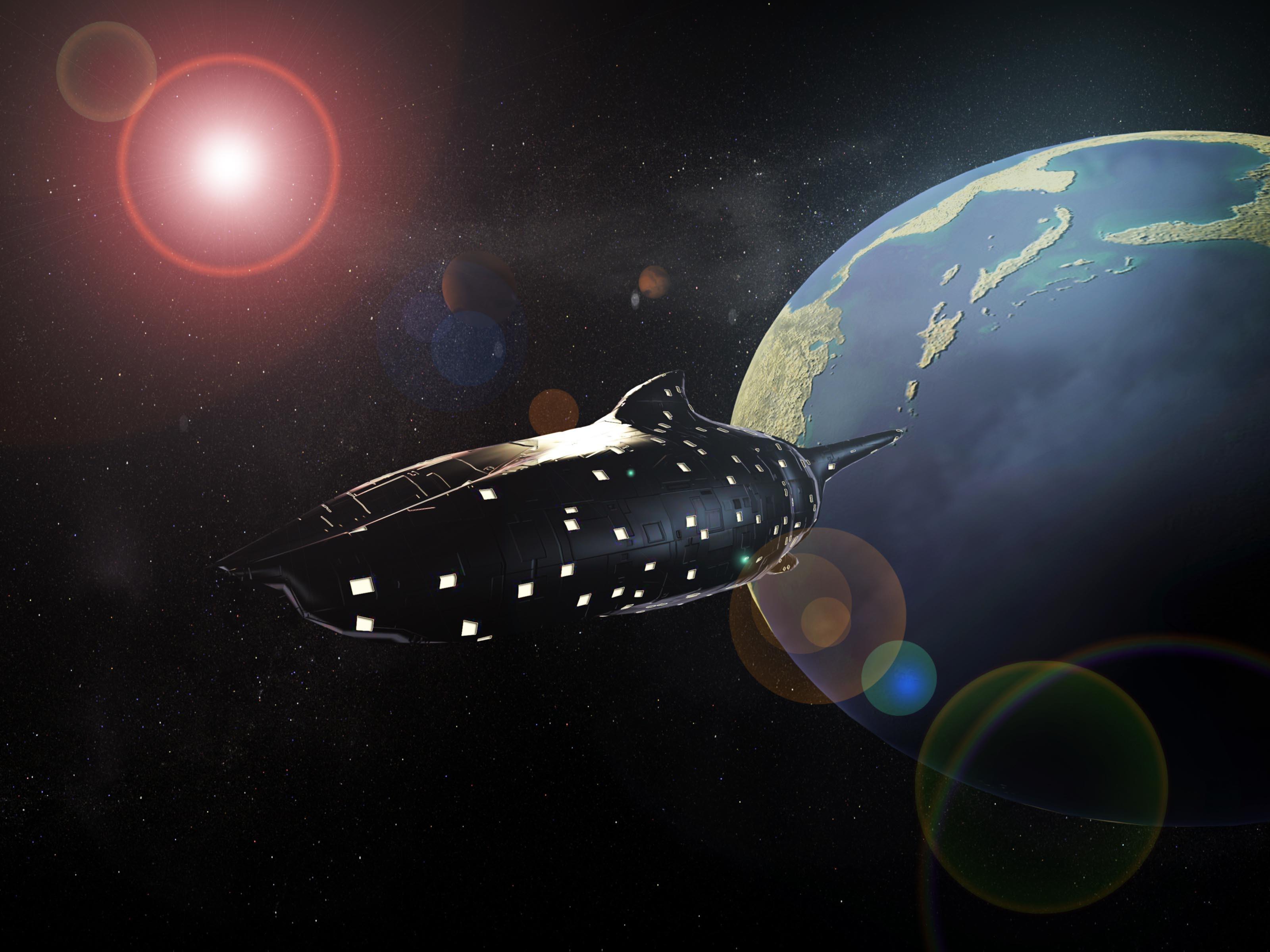 高清太空飞船背景素材