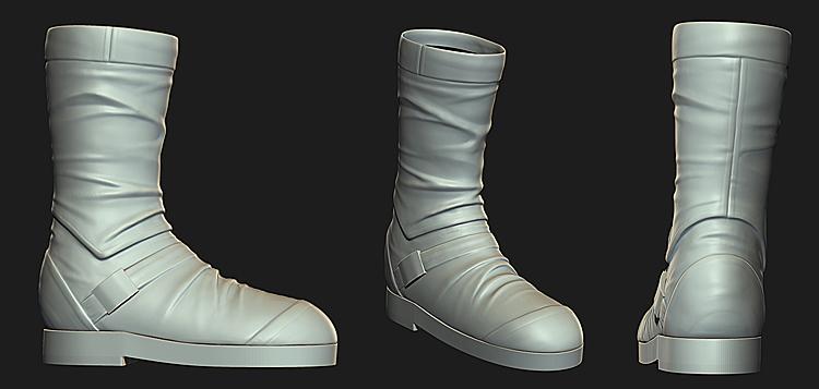 乐艺/手套和靴子差不多了皮革和布料缝合处的细节我打算后期贴图...
