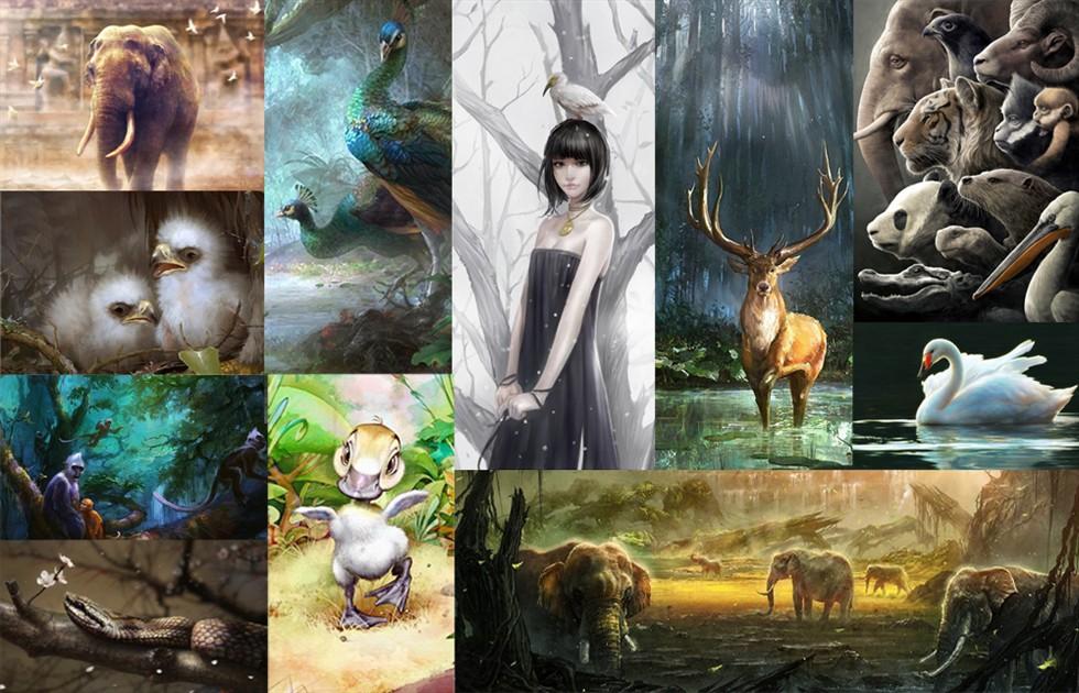 """""""天下共生""""中国濒危野生动物艺术画展"""