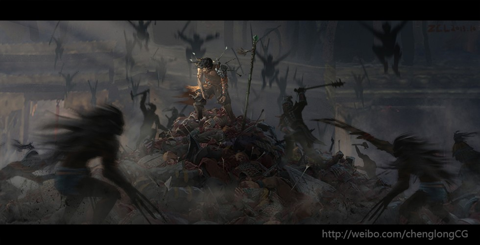 郑成龙 / 游戏宣传海报,影视前期氛围概念设计,影视绘